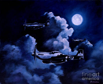 Mustang Painting - Night Flight by Stephen Roberson
