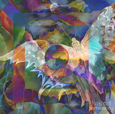 Art Print featuring the digital art Night Flight by Ursula Freer