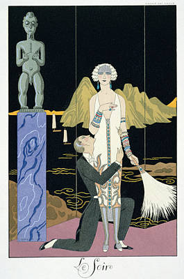 Flappers Painting - Night by Georges Barbier