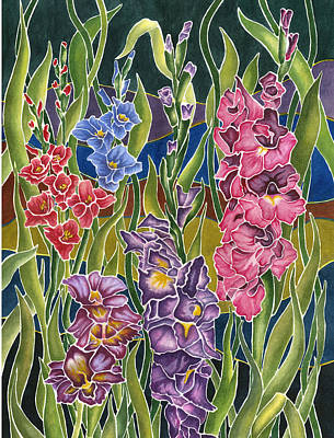 Gladiolas Painting - Night Glads by Connie Ely McClure