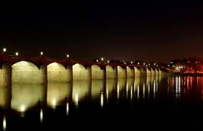 Photograph - Night Glow - Harrisburg Bridge by Deborah  Crew-Johnson