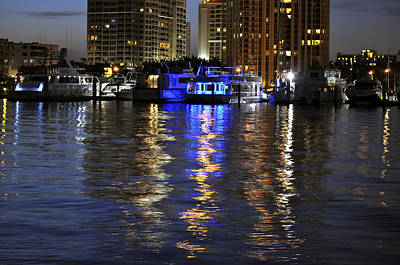 Aqua Condominiums Photograph - Night Harbor Sarasota Florida by Sally Rockefeller