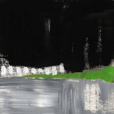 Urban Landscape Mixed Media - Night Horizon- Abstract Landscapeart by Linda Woods