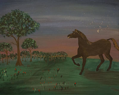 Day Of The Dead Inspired Paintings - Night Horse by Jennifer Simmons