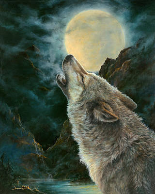 Walsh Painting - Night Howler by Donna  Hillman Walsh