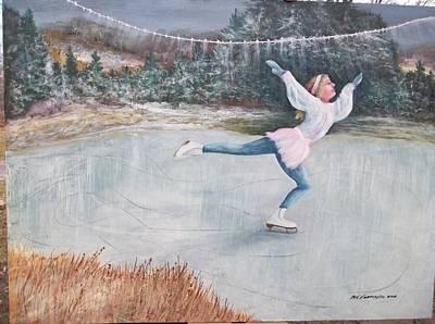 Night Ice Skater Art Print