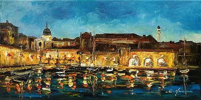Painting - Night In Dubrovnik Harbour by Luke Karcz