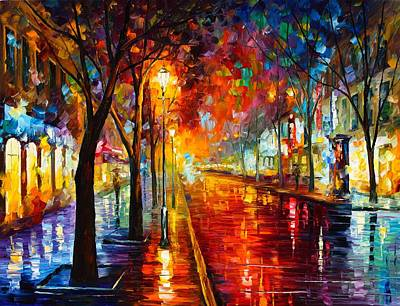 Unique Oil Painting - Night In Red by Leonid Afremov