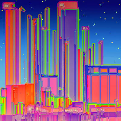 Digital Art - Night In The City by Wendy J St Christopher