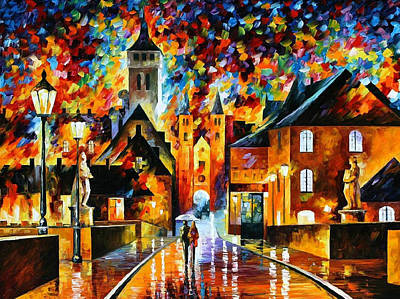 Night In The Old City - Palette Knife Oil Painting On Canvas By Leonid Afremov Original by Leonid Afremov