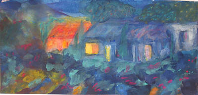 Mystical Landscape Painting - Night In The Village by Tolere