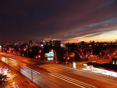 Photograph - night is coming over the BQE in NYC by Mieczyslaw Rudek