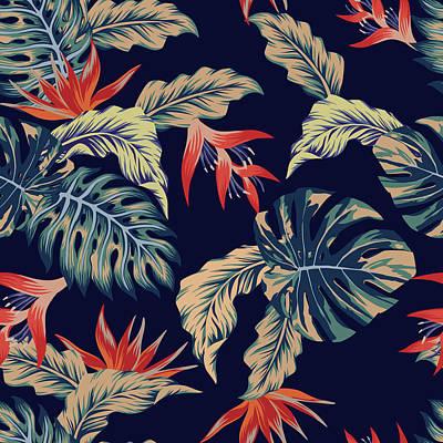 Digital Art - Night Jungle Seamless Pattern by Berry2046