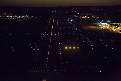 Airport Terminal Photograph - Night Landing At Portand International by Dave Cleaveland