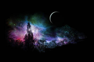 Digital Art - Night Landscape by Bruce Rolff