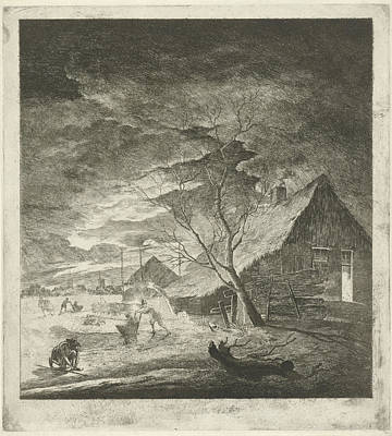 Winter Night Drawing - Night Landscape With Farm And Skaters, Johannes Janson by Johannes Janson