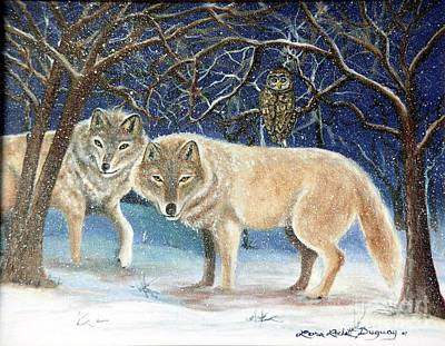 Painting - Night Life In The Forest by Lora Duguay