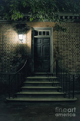 Entrance Door Photograph - Night Light by Margie Hurwich