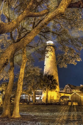 Night Lighthouse Art Print by Debra and Dave Vanderlaan