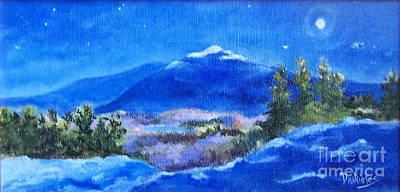 Mt. Monadnock Painting - Night Lights 1 by Alicia Drakiotes