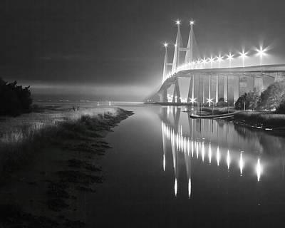 Night Lights In Black And White Art Print by Debra and Dave Vanderlaan