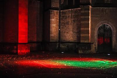 Photograph - Night Lights In Utrecht. Trajectum Lumen Project. Pieterskerk. Netherlands  by Jenny Rainbow