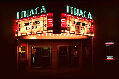 Beer Blueprints - Night Lights Ithaca Theater by David Hohmann