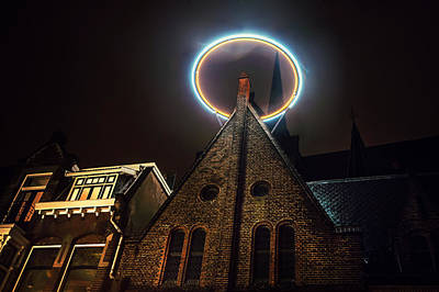 Night Lights Of Utrecht. Halo At Willibrorduskerk. Netherlands Print by Jenny Rainbow