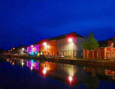 Wall Art - Photograph - Night Lights On Canals by Jackie and Noel Parry