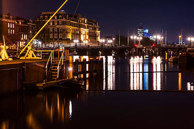 Night Lights On The Amsterdam Canals 2. Holland Art Print by Jenny Rainbow