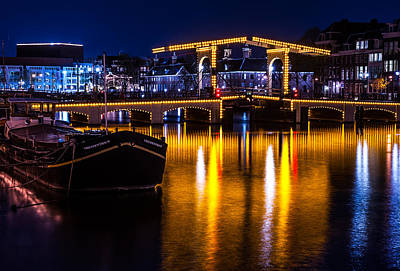 Night Lights On The Amsterdam Canals 3. Holland Art Print by Jenny Rainbow
