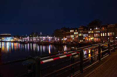 Night Lights On The Amsterdam Canals 5. Holland Art Print