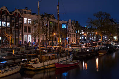 Photograph - Night Lights On The Amsterdam Canals 7. Holland by Jenny Rainbow