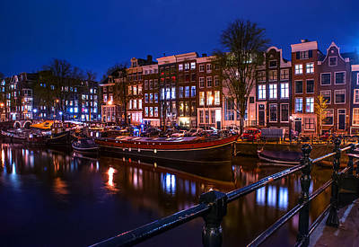 Night Lights On The Amsterdam Canals. Holland Art Print by Jenny Rainbow