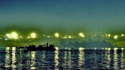 Photograph - Night Lights On The Ganges - Kumbhla Mela - Allahabad by Kim Bemis