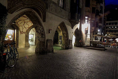 Photograph - Night-lit Arches In Innsbruck Austria by Marilyn Burton