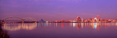Mississippi River Photograph - Night Memphis Tn by Panoramic Images