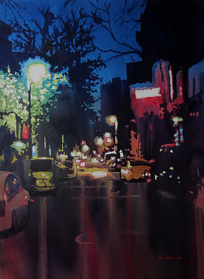 Greenwich Village Painting - Night Moves  by Kris Parins