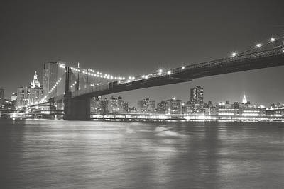Skylines Photograph - Night - New York City - Brooklyn Bridge by Vivienne Gucwa