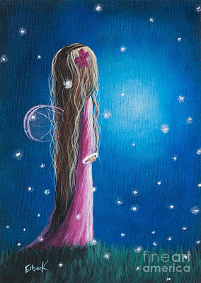 Angels Art Painting - Original Fairy Artwork - Night Of 50 Wishes by Shawna Erback