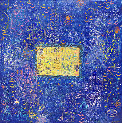 Jewish Symbol Photograph - Night Of Destiny, 1990 Acrylic & Gold Leaf On Board by Laila Shawa