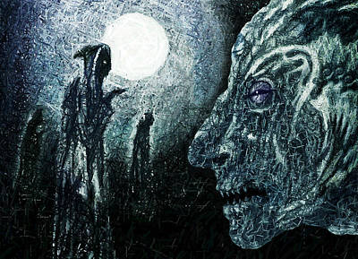 Moonlit Night Drawing - Night Of The Devious Alliance by Hartmut Jager