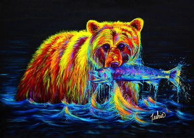 Teal Painting - Night Of The Grizzly by Teshia Art