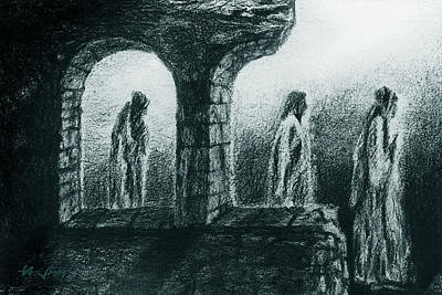 Prowler Drawing - Night Of The Secret Monks by Hartmut Jager