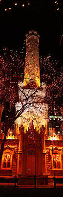 Night, Old Water Tower, Chicago Art Print by Panoramic Images