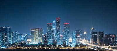 Night On Beijing Central Business District Buildings Skyline Original