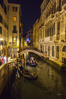 Night On The Canal - Venice - Italy Art Print