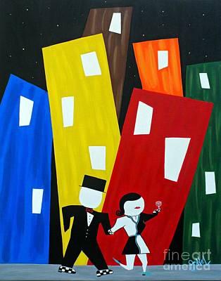 Balck Art Painting - Night On The Town by JoNeL Art