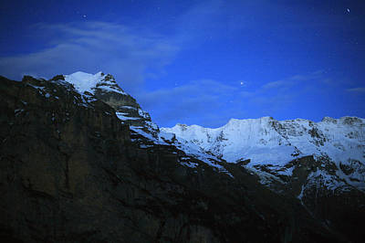 Night Cap Photograph - Night Over The Swiss Alps In Switzerland by Darron R. Silva