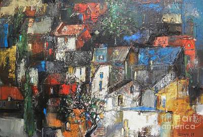 Landscape Painting - Night Over The Town by Grigor Malinov